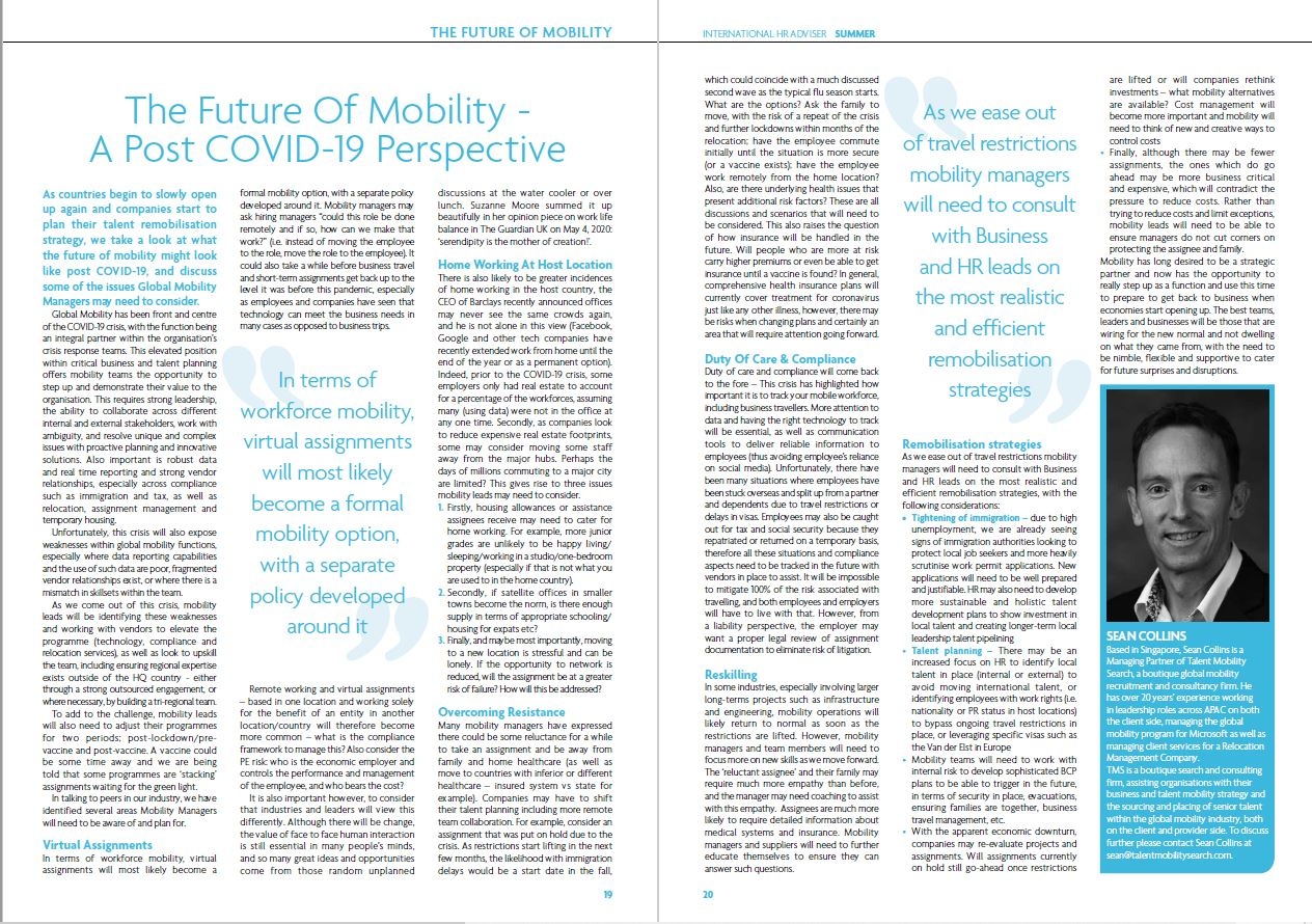 An article from International HR Advisor by Sean Collins, Managing Partner at Talent Mobility Search on the subject of a Post COVID-19 Perspective on the future of global mobility